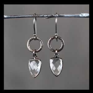 KBD Studio Gunmetal Circle Crystal Drop Earrings
